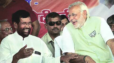 Modi with Ram Vilas Paswan in Hajipur, Wednesday.