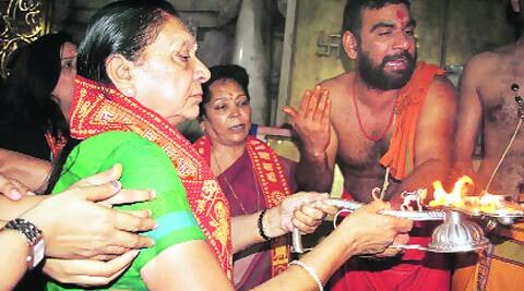 Gujarat CM hopeful Anandi Patel offers prayers at Ambaji temple in Banaskantha on Sunday.