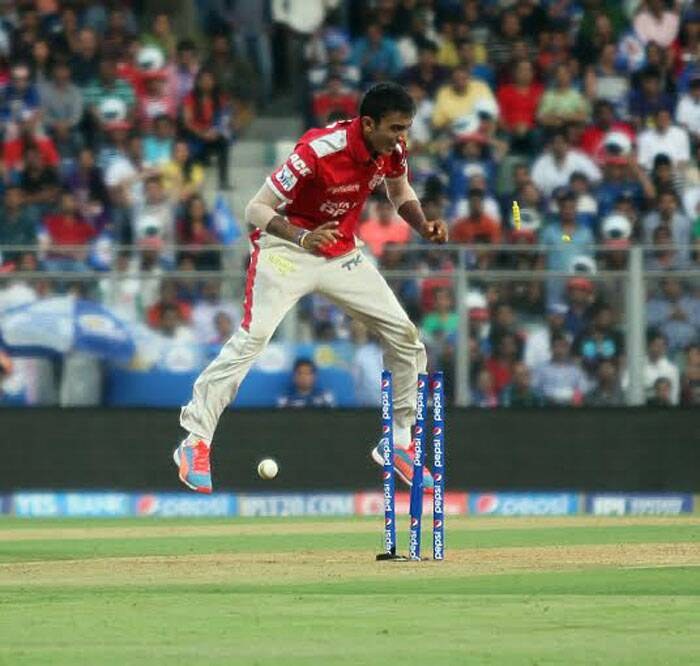 With a string of impressive performances in the ongoing Pepsi IPL tournament, Kings XI Punjab's young spinner Akshar Patel has become an integral part of the team. However, he didn't have a great day in the field at the Wankhede Stadium as he leaked 40 runs from his 4 overs without taking a wicket. (IE Photo Prashant Nadkar)