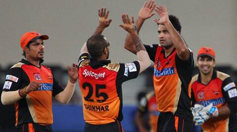 Sunrisers Hyderabad's Irfan Pathan celebrates their win against Mumbai Indians on Wednesday. (BCCI/IPL)