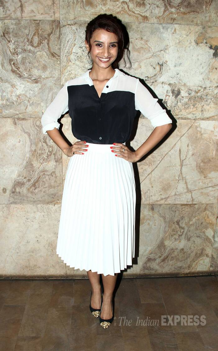 Newcomer Patralekhaa was smart in a monochrome dress. (Source: Varinder Chawla)