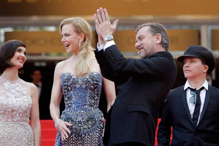 'Grace of Monaco' tells the tale of Grace Kelly, who married Prince Rainier of Monaco and died after crashing her car in 1982 in hills above the principality, not far to the east of Cannes. <br /><br /> Seen here, Paz Vega, Nicole Kidman, Tim Roth and director Olivier Dahan on the red carpet as they arrive for the 67th Cannes Film Festival and the screening of the 'Grace of Monaco'. (Source: Reuters)