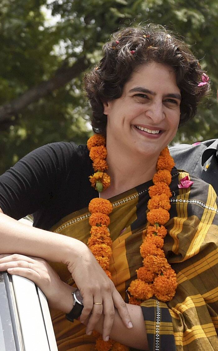 Priyanka Vadra addresses supporters during her election campaign for her brother and Congress Vice President Rahul Gandhi in Amethi on Friday. (PTI)