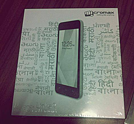 The box of the Micromax Unite 2