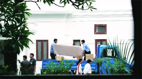 Manmohan Singh's household items being moved to his new house on Sunday.