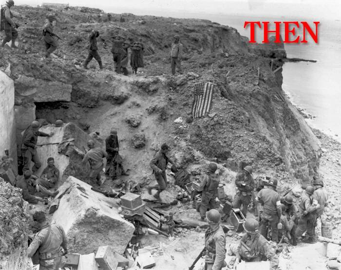 A U.S. flag lies as a marker on a destroyed bunker two days after the strategic site overlooking D-Day beaches was captured by U.S. Army Rangers at Pointe du Hoc, France, June 8, 1944. (Source: Reuters)