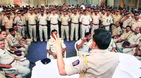 A police security briefing at NESCO Complex Ground in Goregaon, ahead of counting day. ( Source: Express photo by Amit Chakravarty )