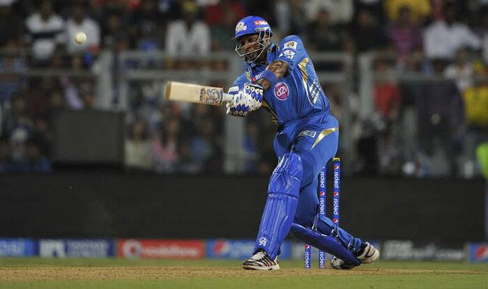 One of the biggest hitters in the game's shortest format, Mumbai Indians batsman Kieron Pollard continued from where he left against the Sunrisers Hyderabad. Pollard went berserk against the Kings XI Punjab, scoring 28 runs off just 12 deliveries to hand Mumbai Indians their first win in the ongoing Pepsi IPL tournament. (IE Photo Prashant Nadkar)