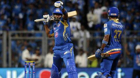 Mumbai Indians' Kieron Pollard celebrates after hitting the winnings runs against Kings XI Punjab at the Wankhede Stadium on Saturday. MI won by 5 wickets. (IPL/BCCI)
