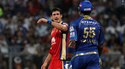 Mitchell Starc with some not so pleasant words for Kieron Pollard (Photo: BCCI/IPL)