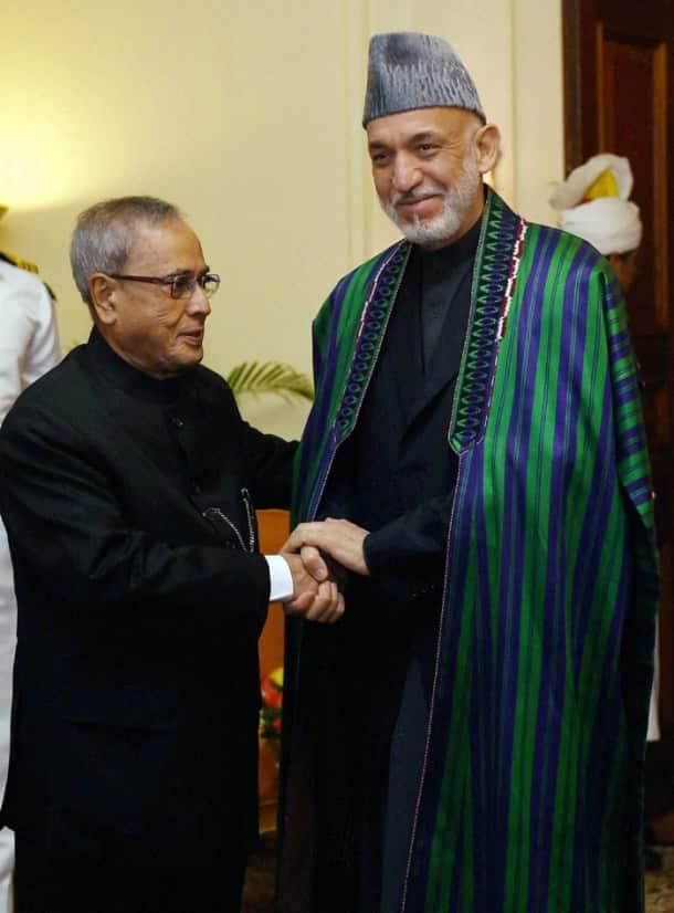 President Pranab Mukherjee meets Hamid Karzai