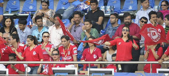 Kings XI Punjab owner Preity Zinta is always seen cheering his team with great zeal, and Saturday was no exception. (IE Photo Prashant Nadkar)
