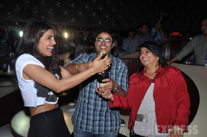 Priyanka's family was also present at the launch to support her. Her mother, Madhu Chopra and brother Siddharth pop open a bottle of bubbly champagne to celebrate the diva's success. (Photo: Varinder Chawla)