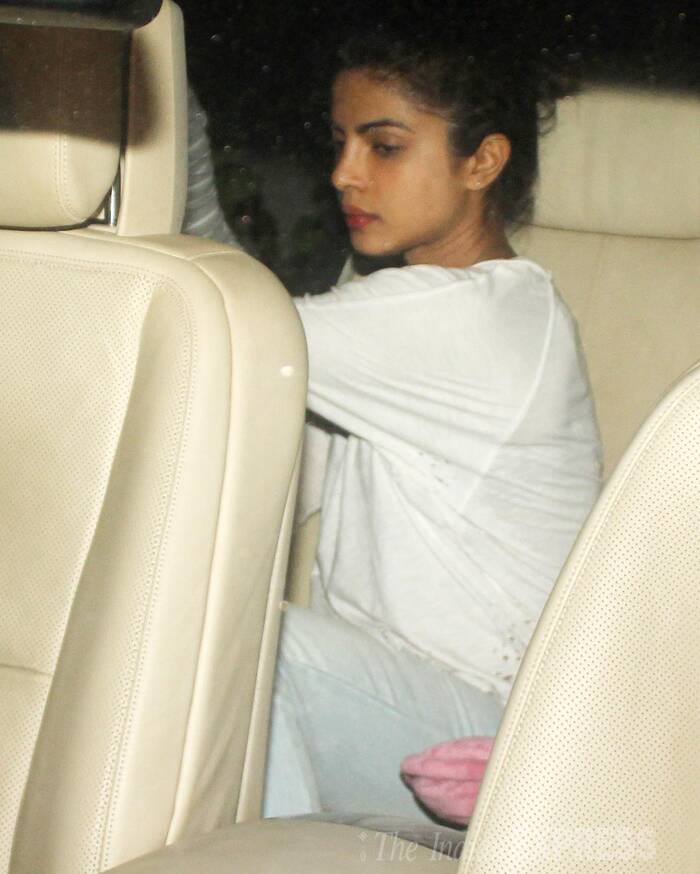 Seen here, Priyanka gets into her car post the meeting. 'Dil Dhadakne Do', which is said to be about a dysfunctional family, stars Anil Kapoor, Farhan Akhtar, Anushka Sharma with Ranveer Singh and Priyanka Chopra playing siblings. ( Source: Varinder Chawla )