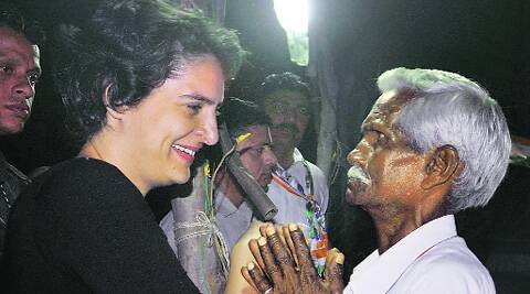Priyanka Gandhi in Amethi, Wednesday night.