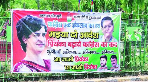 A poster in Allahabad demands that Priyanka Gandhi take over the reins of the Congress.Source: PTI