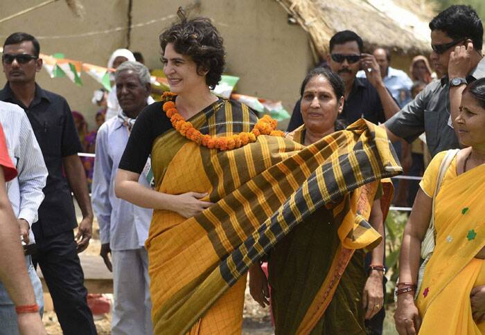 Priyanka Vadra during an election campaign for her brother and Congress Vice President Rahul Gandhi in Amethi on Friday. (PTI)