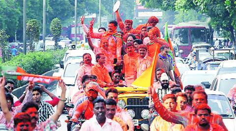 Victory drive: Shirole with supporters on Bundgarden Road on Friday. ( Source: Express photo by Arul Horizon )