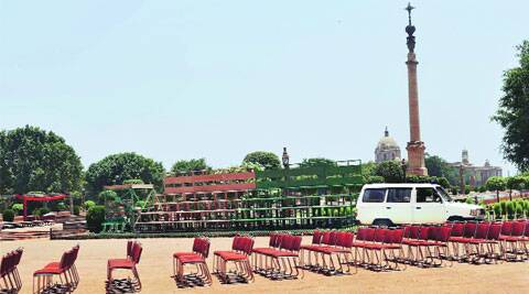 Chairs on the Rashtrapati Bhawan forecourt await guests. ( Source: PTI )