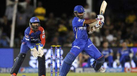 Ajinkya Rahane plays a shot during his 64-run knock against the Delhi Daredevils in Ahmedabad on Thursday. (IPL/BCCI)