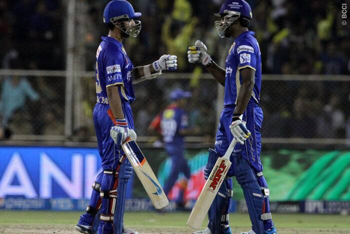 Rajasthan innings was all about partnerships and the biggest of the lot was between Ajinkya Rahane and Sanju Samson. They shared a 74-run stand off 39 balls to set the platform for a big total. (Photo: BCCI/IPL)