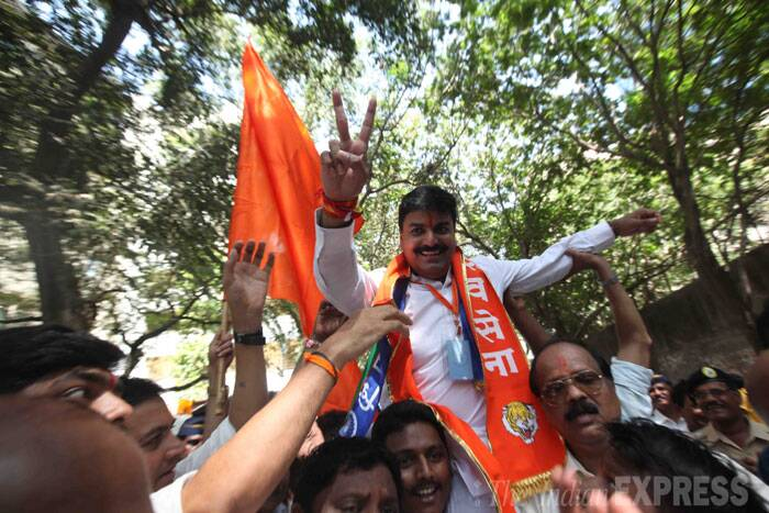 Shiv Sena's Rahul Shewale defeated Congress's Eknath Gaikwad by 1,38,046 votes from Mumbai South Central. (Source: Express photo by Pradip Das)