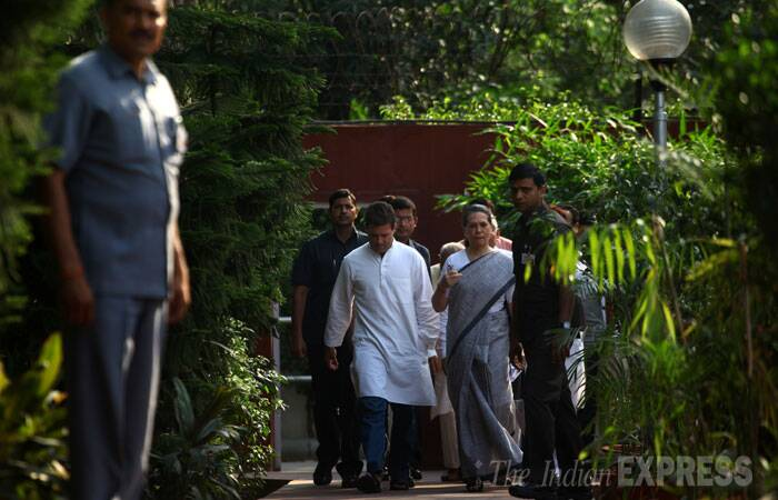 "Accepting responsibility for the party's worst-ever defeat, Sonia Gandhi and Rahul Gandhi on Friday conceded that the mandate in the Lok Sabha polls was ""clearly against"" the Congress and said there was ""lot for us to think about"". (Source: Express photo by Oinam Anand)"