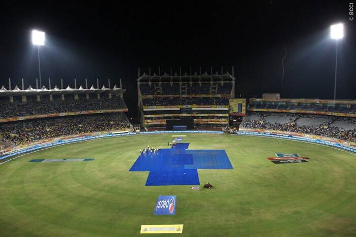 Just after Chennai won the toss and decided to bat first, it started raining in Ranchi and a late start reduced the match to 17-overs-a-side. (Photo: BCCI/IPL)