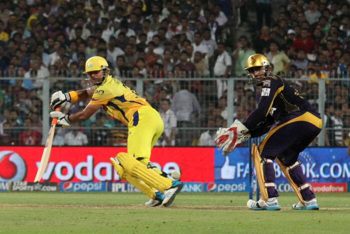 Half-centurian from the last match for Chennai, Suresh Raina again steered the Chennai innings and played a wonderful knock of 65 off 52 which included three fours and five sixes. (IE Photo: Partha Paul)