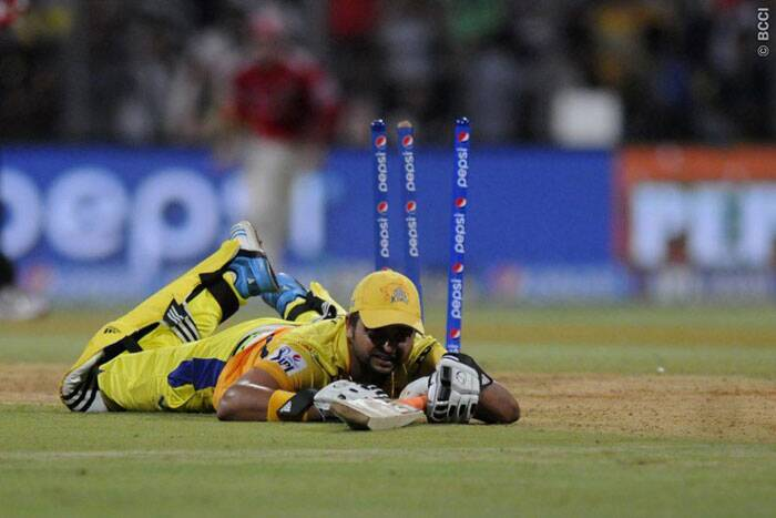 Chennai Super Kings' hopes of winning the games crashed with the dismissal of Suresh Raina. Batting exceedingly well on 87, Raina was run-out by an accurate throw from George Bailey. (Source: IPL/BCCI)