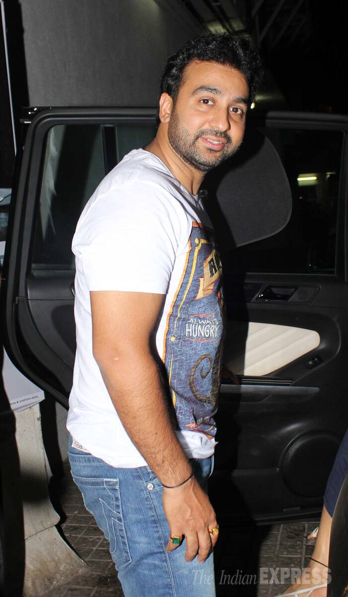 Shilpa's husband Raj Kundra was casual in a white T-shirt and denims. (Photo: Varinder Chawla)