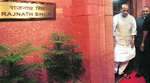 Rajnath Singh outside his office in North Block on Thursday.  ( Source: Express photo by Anil Sharma )