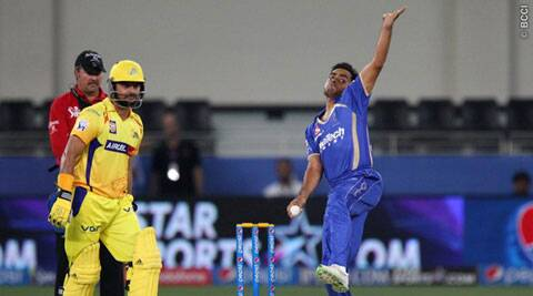 Rajasthan Royals medium pacer Rajat Bhatia in action against the Chennai Super Kings. (IPL/BCCI)
