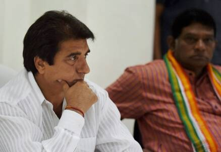 Congress leader Raj Babbar (left) at a Congress party meeting in New Delhi (Photo: Press Trust of India)