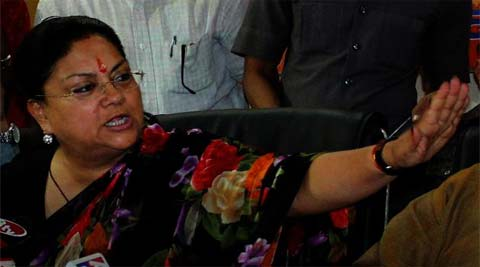 "Vasundhara Raje in her victory speech at the BJP headquarters said in Jaipur, ""Achhe din aa gaye hain."