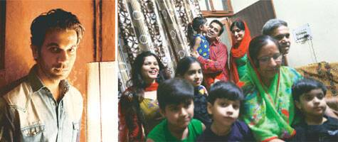 The actor (left) and his family in Gurgaon (right). Pic: Amit Chakravarty and Oinam Anand