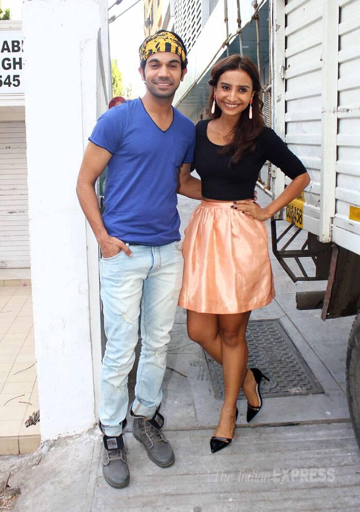 'CityLights' lead pair Rajkummar Rao and Patralekha were spotted on the same day as the release of their film in Bandra. Rajkummar looked cool in a tee shirt and jeans, while Patralekha wore a black cropped top and peach coloured skirt. (Source: Varinder Chawla)