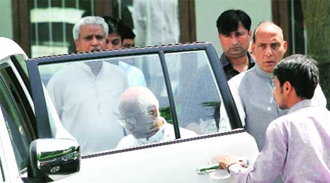 RSS leader Suresh Soni at Rajnath's residence on Thursday. ( Source: Express photo )