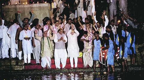 Narendra Modi and Rajnath Singh  performs Ganga Aarti, in Varanasi on Saturday.