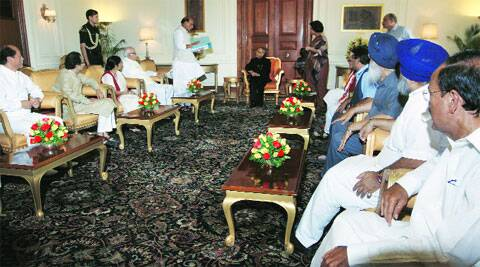 BJP president Rajnath Singh and NDA members with Pranab Mukherjee at Rashtrapati Bhavan on Tuesday. Renuka Puri