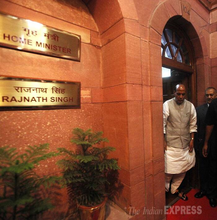 Rajnath Singh is said to give priority to issues of Naxal violence, activities of terrorist outfits in the country's hinterland, infiltration from Pakistan, illegal immigration from Bangladesh and strengthening intelligence-gathering mechanism after assuming office. (Source: IE Photo by Anil Sharma)