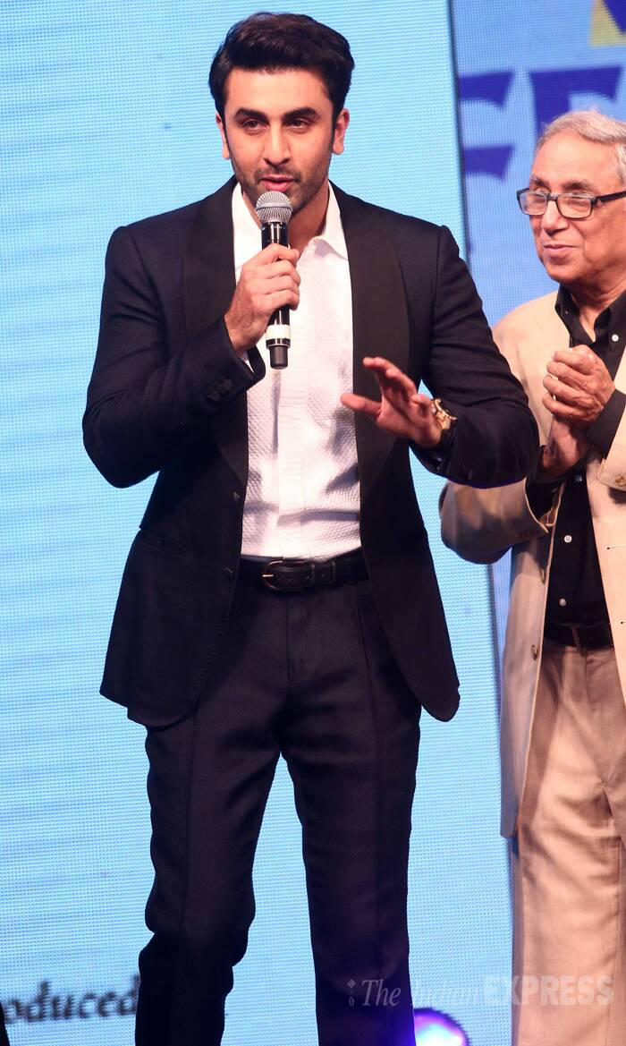 Ranbir Kapoor, who will be seen in Anurag Kashyap's 'Bombay Velvet', says a few words at the event. (Photo:Varinder Chawla)
