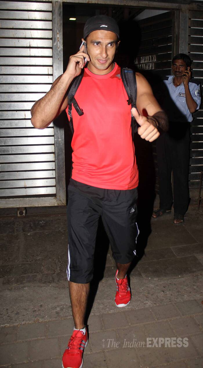 Ranveer Singh, who plays Priyanka's brother in the film, was sporty in a sleeveless jersey with shorts and red trainers. ( Source: Varinder Chawla )