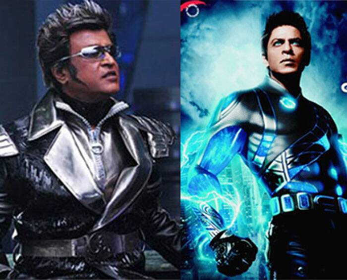 <b>RA.One</b>: Shah Rukh Khan, a self cofessed Rajinikanth fans, paid a tribute to the Thaliava in his home production 'RA.One'. Rajinikanth did a small cameo and appeared as Chitti, his onscreen persona from the hit film 'Endhiran'. (Source: Express archive photo)