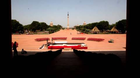The President's house gets ready for the swearing-in ceremony of Narendra Modi. (Express photo by Renuka Puri)