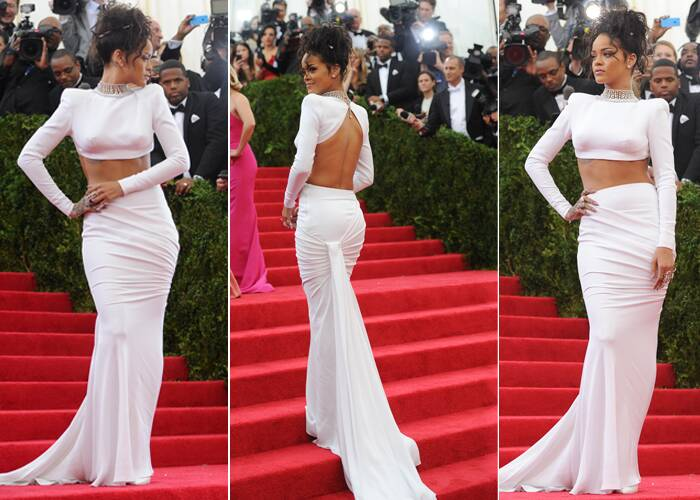 Rihanna flaunted her perfect body in a Stella McCartney crop top with a flowing skirt and a fabulous updo.  (AP)