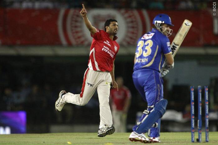 Kings XI Punjab seamer Rishi Dhawan extracted good movement off the seam and dismissed two of Rajasthan Royals' most dangerous batsmen - Ajinkya Rahane and Shane Watso - off consecutive deliveries. Dhawan finished with figures of 2/25 from four overs. (Source: IPL/BCCI)
