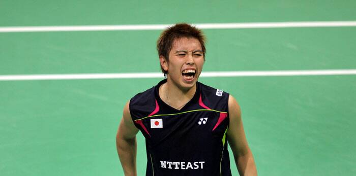 Kenichi Tago reacts after losing a point against Lee Chong-Wei in their Thomas Cup final in Delhi on Sunday. (Source: IE Photo Ravi Kanojia)