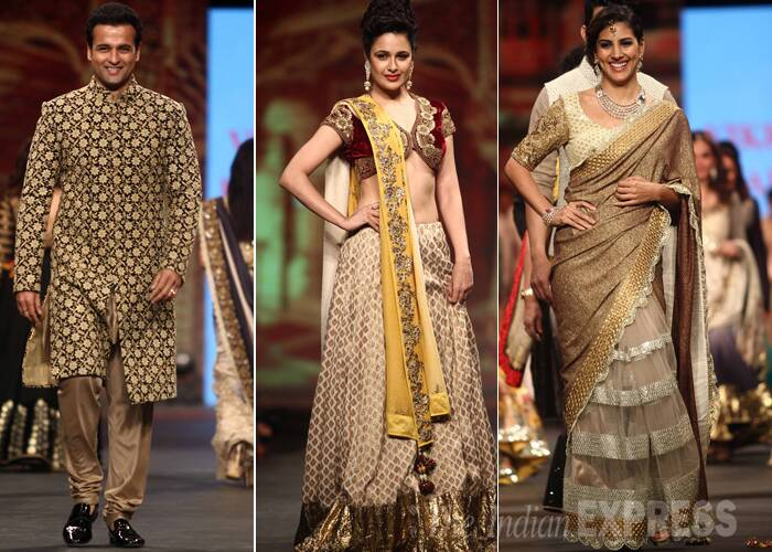 Golden acts! Actors Rohit Roy, Yuvika Choudhary and 'The Great Indian Laughter Challenge' host Perizaad Kolah glittered in dull gold creations. (Photo:Varinder Chawla)