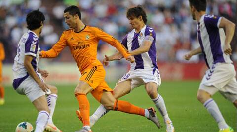 Cristiano Ronaldo sustained a thigh strain during Real Madrid's Spanish La Liga clash against Real Valladolid on Wednesday. (AP)
